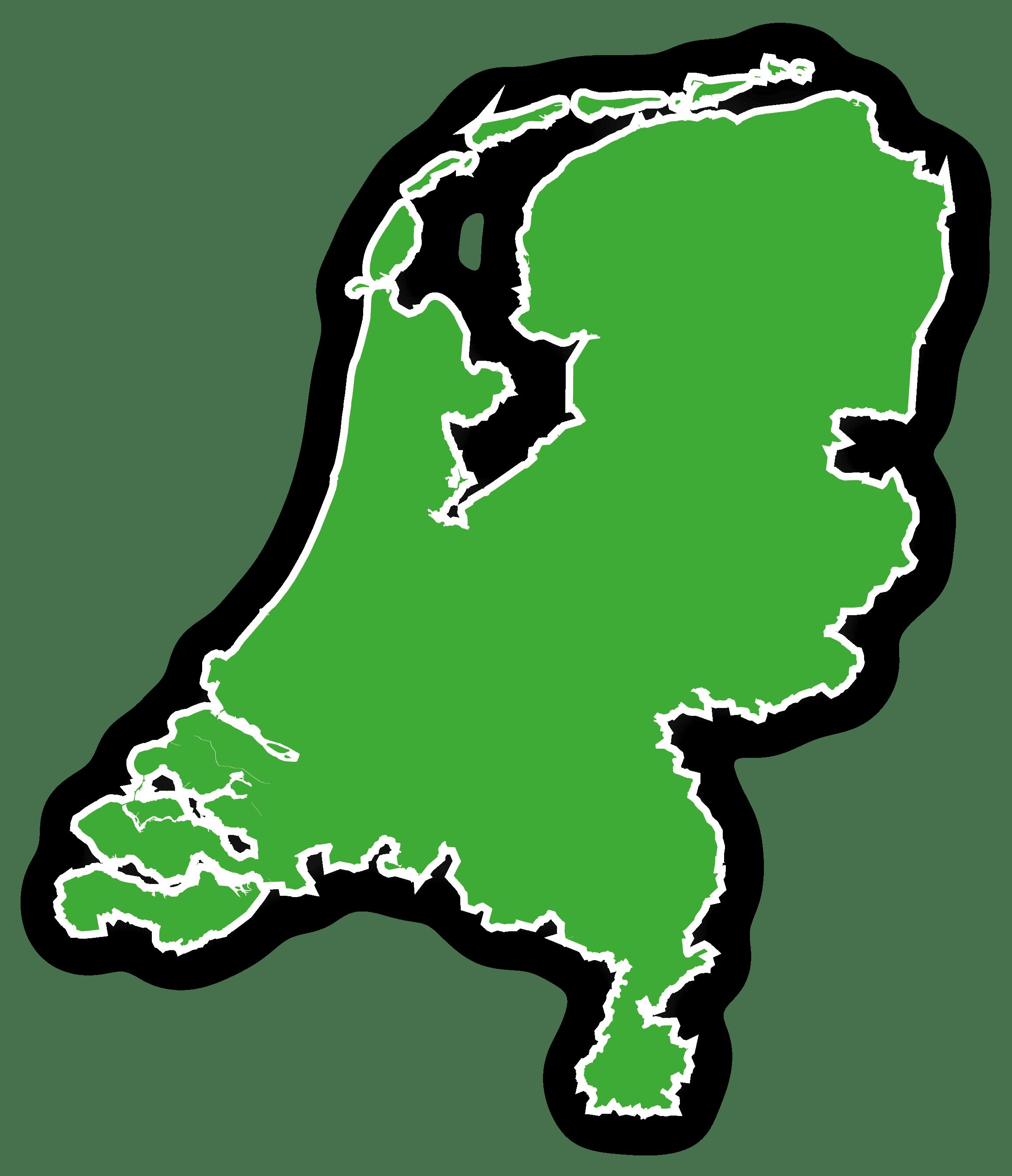Rolcontainer Nederland kaart schaduw afzetgebied